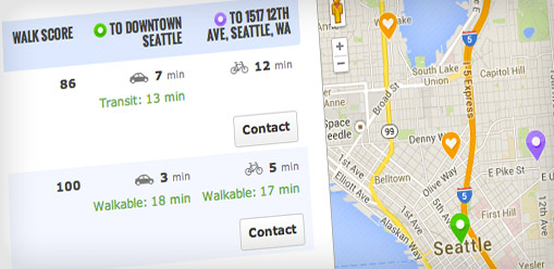 compare address feature showing bike, drive and walkable commutes from multiple addresses
