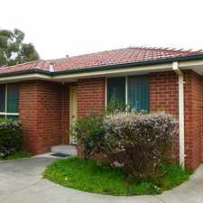 Rental info for LOW MAINTENANCE UNIT IN A QUIET BLOCK in the Melbourne area