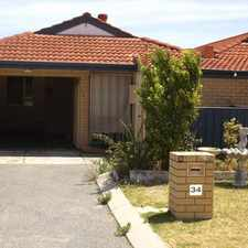 Rental info for WELL PRESENTED VILLA ONLY MINUTES TO FREMANTLE in the North Coogee area