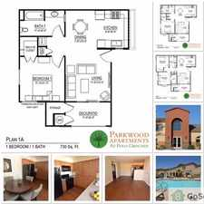 Rental info for 1 bedrooms Wood vinyl flooring Carpet in bedrooms Granite counter tops Refrigerator Dishwasher Gas stove Abundant kitchen cabinets Walk-in closets Patio with storage Water, sewer & trash pick up included
