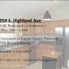 Rental info for 259 S. Highland Ave in the Brewer's Hill area
