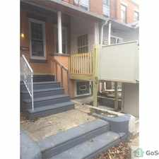 Rental info for Central air wheelchair accessible townhome with recessed lights throughout 1st flr washer dryer conveniently located on 2nd flr handicap bedroom located on 1st flr with heightened receptacles large handicap bathroom on 1st flr with roll in shower. in the Philadelphia area