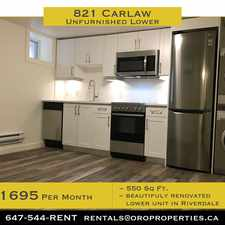 Rental info for 821 Carlaw Avenue in the Playter Estates-Danforth area