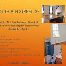 Rental info for 511 South 9th Street #3F in the Philadelphia area