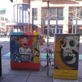 Photo of Art Duo Boxes in Warehouse District, Minneapolis