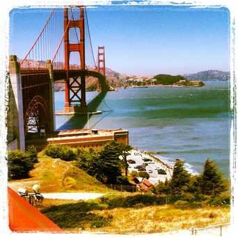 Photo of Golden Gate Bridge in Presidio National Park, San Francisco