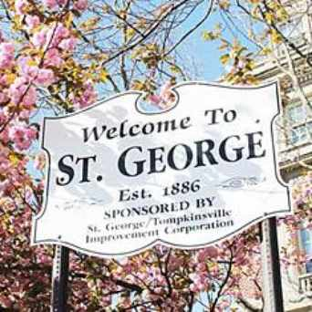 Photo of St. George Welome Sign near Tompkins Square in St. George, New York