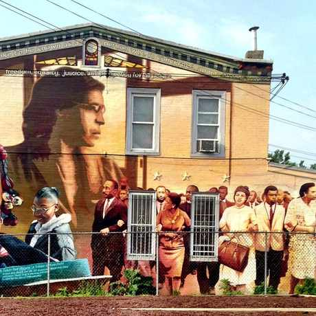 Photo of PMAP Pine St Mural in Cobbs Creek, Philadelphia